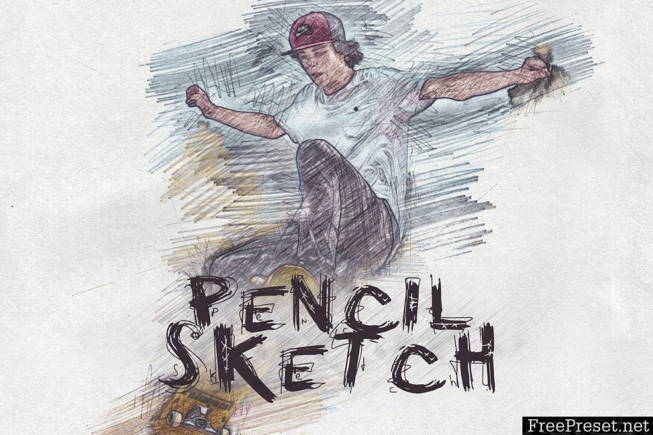 Pencil sketch photoshop action 3131294