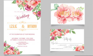 Modern wedding invitation cards and rsvp thank you card 3975325