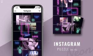 Instagram PUZZLE template - Neon 3433872