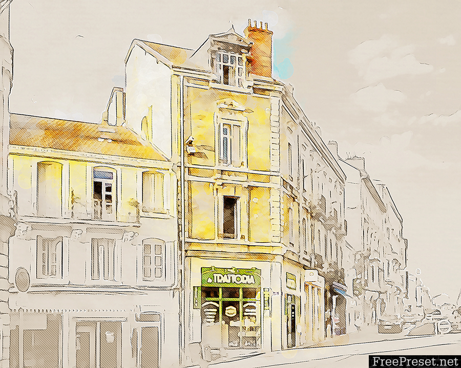 Architecture Sketch Art Photoshop Action Free Download