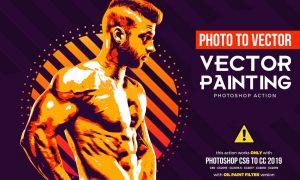 Vector Painting CS6 & CC+ Photoshop Action R9DKN26