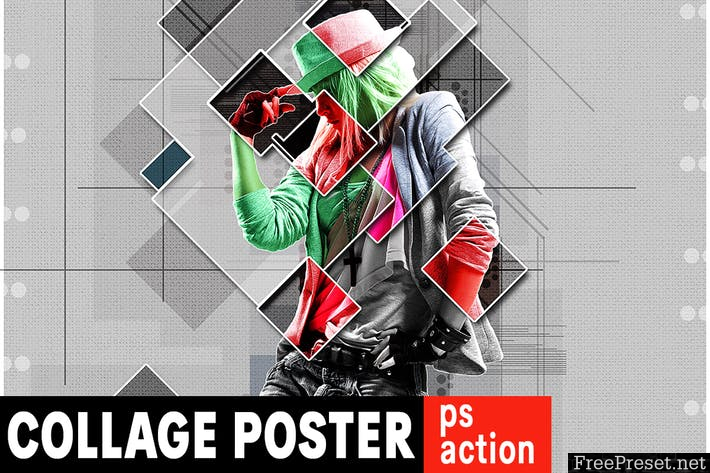 Collage Graphic Poster Photoshop Action DMHKHR