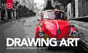 Drawing Art Animation Photoshop Action NGLNJX