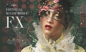 Editorial Mixed Media FX Photoshop Add-On EPC86W