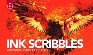 Ink Scribbles Animation Photoshop Action RTM7BR