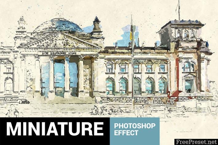 Miniaturum - Watercolor Sketch Photoshop Action - JPYA38
