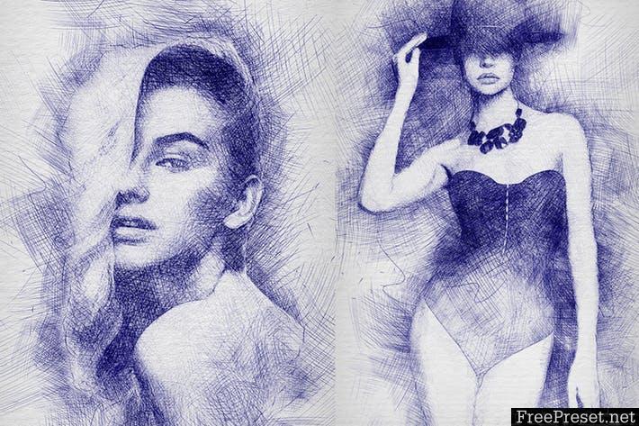 Pen Sketch Photoshop Action UGCFS3