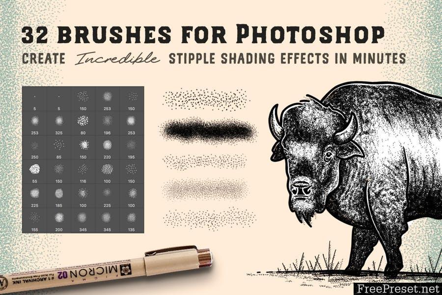 Stipple Brush Set for Photoshop and Illustrator [ABR, AI, EPS]
