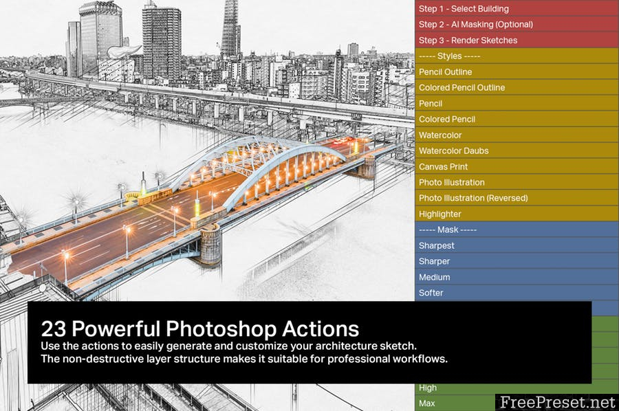 10 AI Architecture Sketch Photoshop Actions F5JGHRV