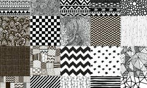 50 Black Hand-Drawn Seamless Patterns