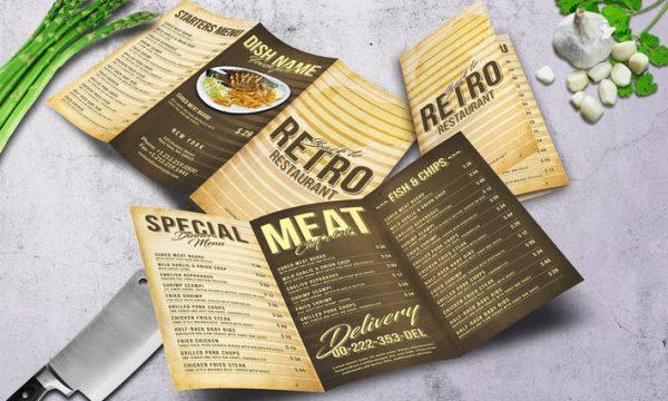 80's Retro Trifold A4 & US Letter Menu - BCPYPE - PSD