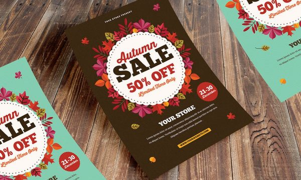Autumn Sale Flyer + Instagram Post 6X6LTC - AI, PSD