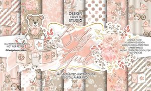 Baby Girl digital paper pack II LM8U97 - JPG