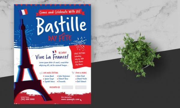 Bastille Day Flyer Poster 3ANB5R2 - AI, EPS