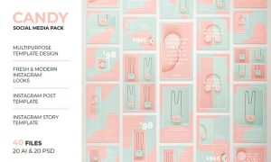 Candy Instagram Post & Instagram Story Template KCW4BTF -  AI, PSD