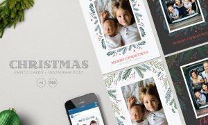 Christmas Photo Cards+ Instagram Post YMXPJX - AI, PSD