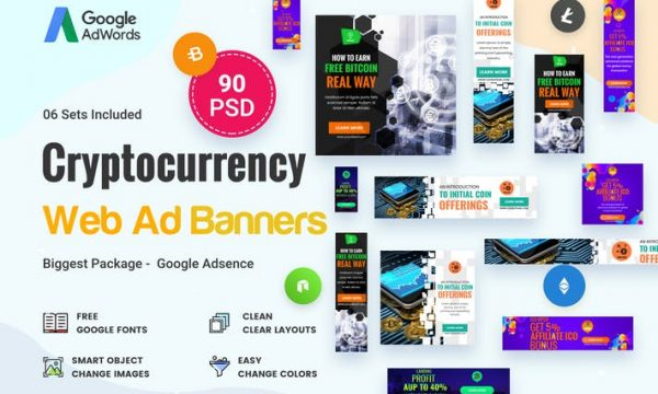 Cryptocurrency Banners Ad - 90 PSD - F6XSR7