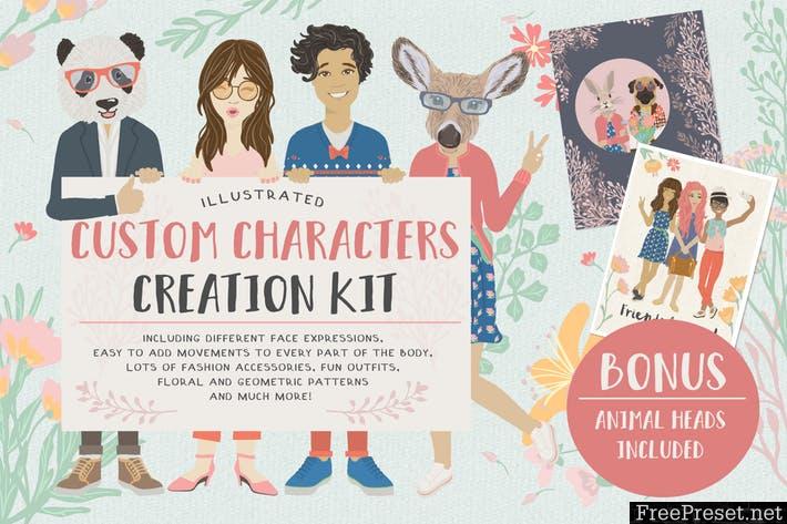 Custom Character Creation Kit AXD3Y2 - AI, JPG, EPS, PNG, PDF