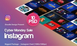 Cyber Monday Instagram Banners Ad - 10 PSD - Y8SBJE