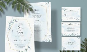 Diagonal Wedding Invitation Set WBNH9V6 - AI, JPG, PSD
