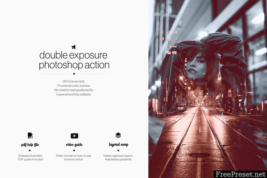 Double Exposure Photoshop Action 6MB4RC