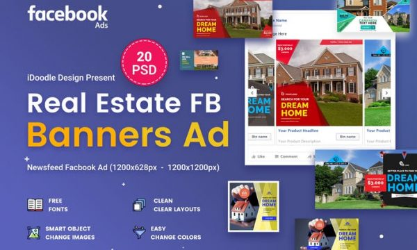 Facebook Real Estate Banners Ads - 20 PSD - X9CAED