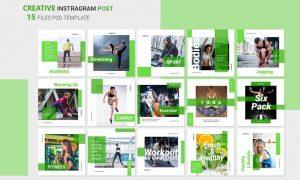 Fitness Instagram Posts 8LCWRA7 -  JPG, PSD