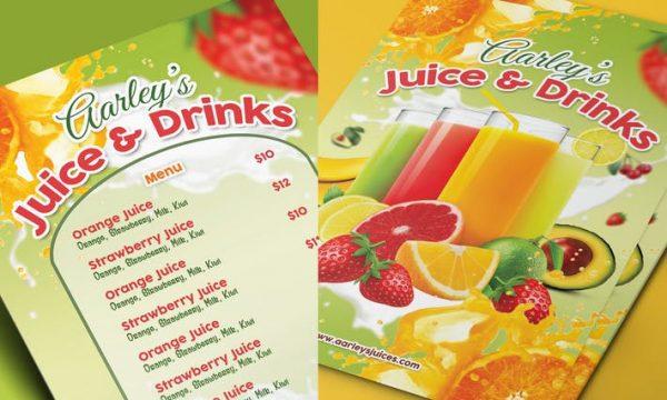Fruit Juice Menu CVU3LW - PSD
