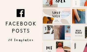 Minimal Facebook post templates CWKHG8 - AI, PSD, PNG