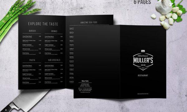 Muller's Bifold A4 & US Letter Elegant Menu 6AZKZR - PSD
