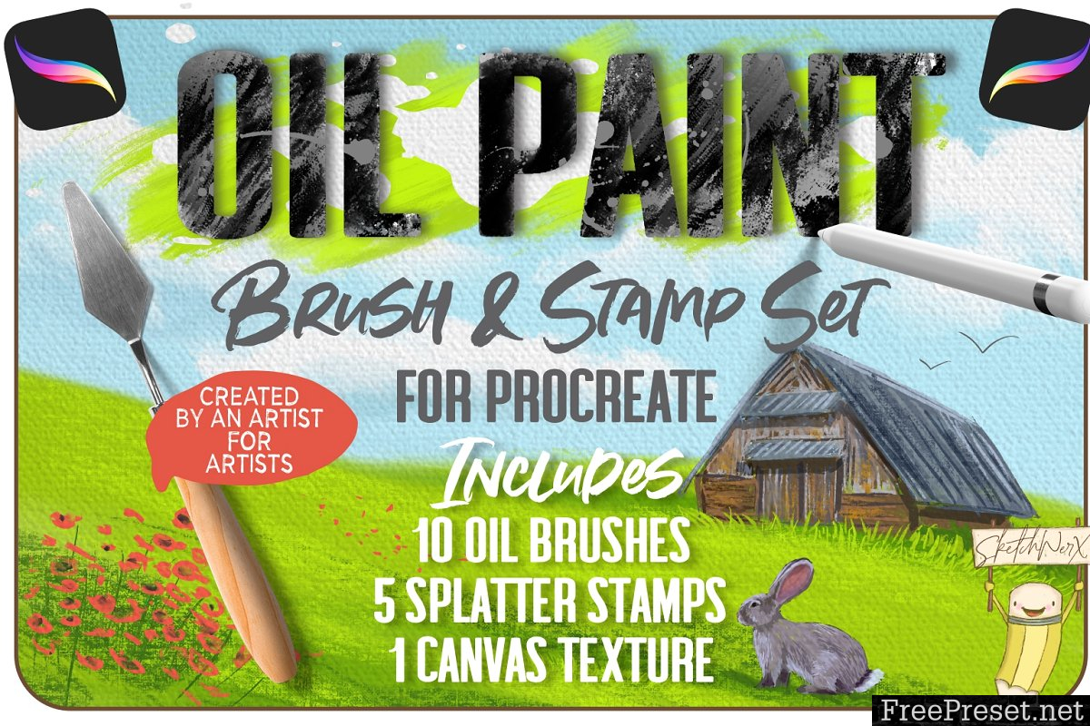 Oil Paint Brush & Stamp Set 3378608