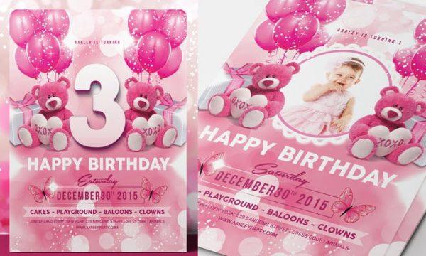 Pink Kids Birthday Invitation C75BF4 -PSD