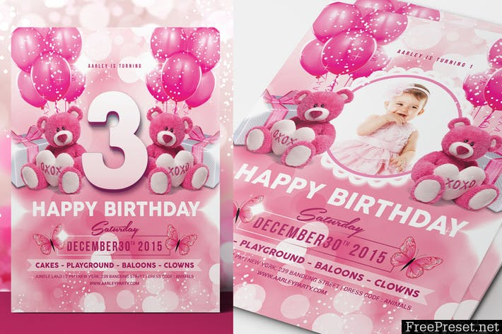 Pink Kids Birthday Invitation C75BF4 -PSD