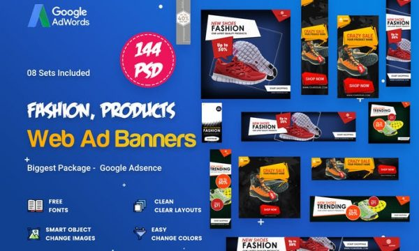 Product Banners Ads - 144 PSD [08 Sets] - GAQD43