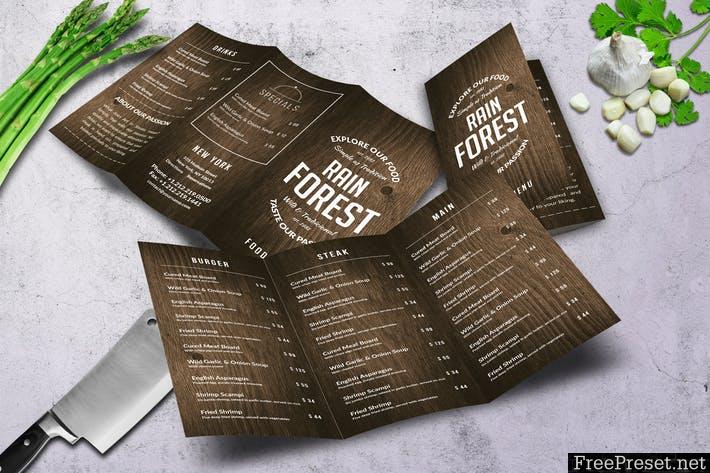 Rain Forest Trifold A4 & US Letter Menu FRAZ9C - PSD
