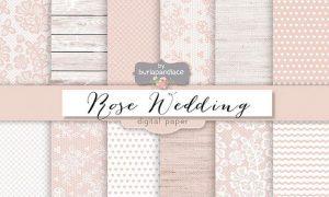 Rose pale wedding digital paper pack V3T54M - JPG
