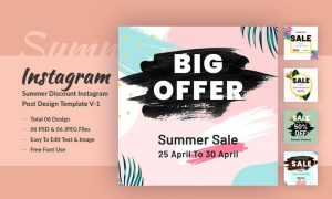 Summer Discount Instagram Post Design Template 74WC2FD - PSD, JPG, PNG