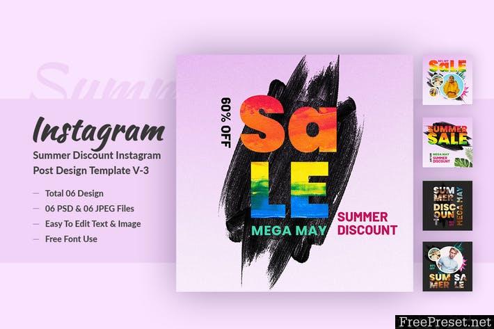 Summer Discount Instagram Post Design Template V-3 463DC2H