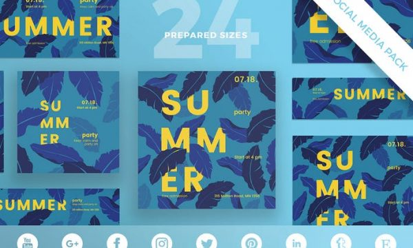 Summer Party Social Media Pack Template 8KKWQE - EPS, PSD, JPG