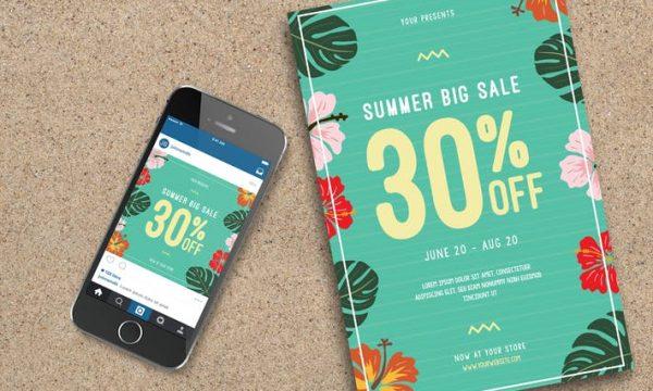 Summer Sale Flyer+ instagram Post PMQBUQ - AI, PSD