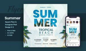 Tropical Sound Flyer & Instagram Post Template V-2 3542FMY - PSD, JPG