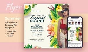 Tropical Sound Flyer & Instagram Post Template V-4 U2D8WFJ - PSD, JPG