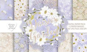 Watercolor Daisies flowers digital paper pack YKAMRG - JPG