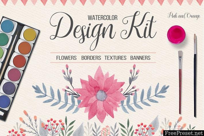 Watercolor Floral Design Kit KL8G7F - JPG, PNG