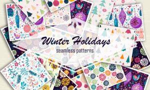 Winter holidays seamless patterns Y99BZ5 - EPS, JPG