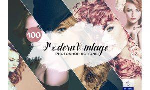 100 Modern Vintage Photoshop Actions 3934804