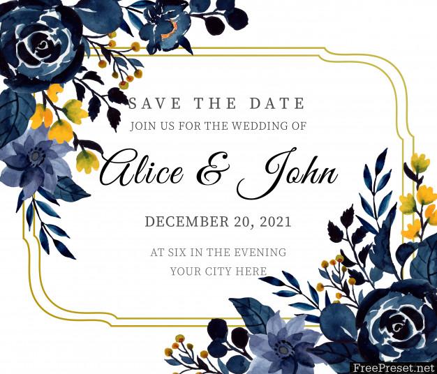 Blue Indigo Watercolor Floral Wedding Invitation Card