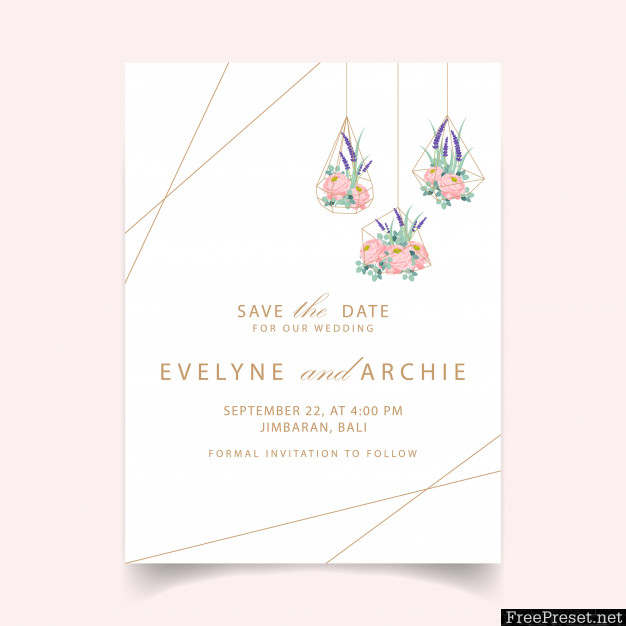Floral Wedding Invitation Card Template Design With