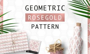 Geometric Rosegold Pattern 3FT7KS - JPG, PNG