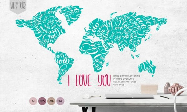 Valentines «I Love You» Vector Photo Overlay Colle R8GKB5 - AI, EPS, PNG, SVG